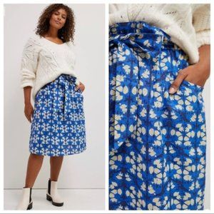 Anthropologie Porridge Lanai Midi Skirt XL Blue